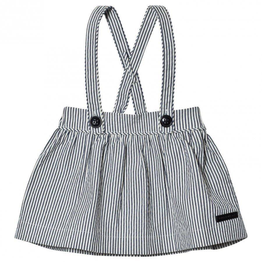 Burberry Indigo Seersucker Sophya Skirt With Braces Mekko