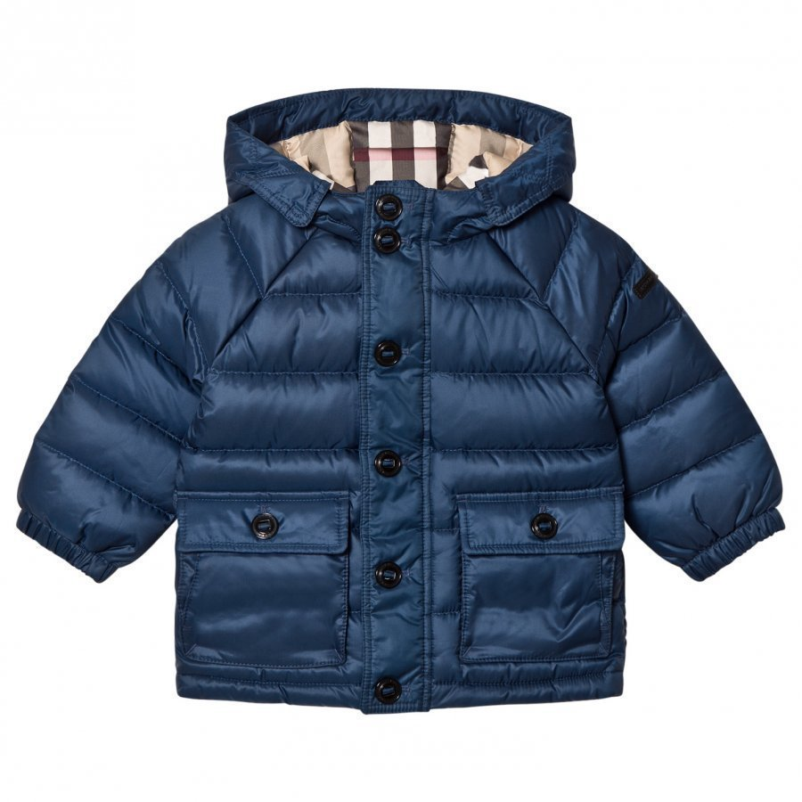 Burberry Ink Blue Mini Lachlan Down Puffer Jacket Toppatakki