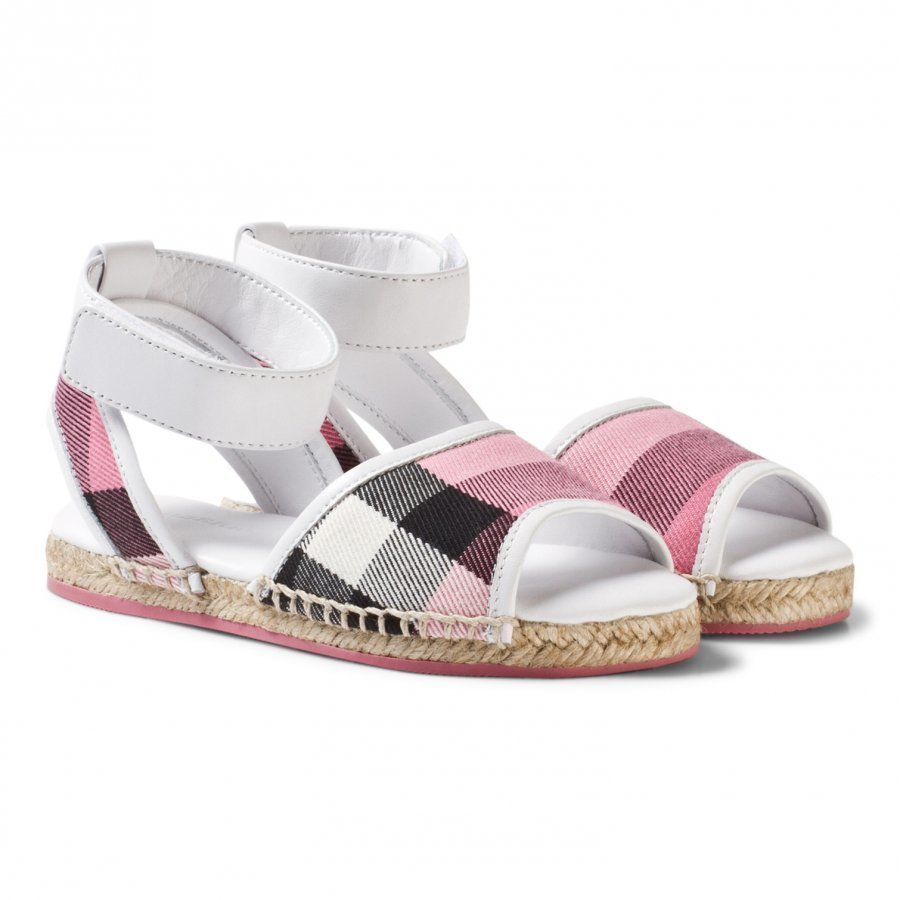 Burberry Leather Ankle Strap And House Check Espadrille Sandals Rose Pink Remmisandaalit