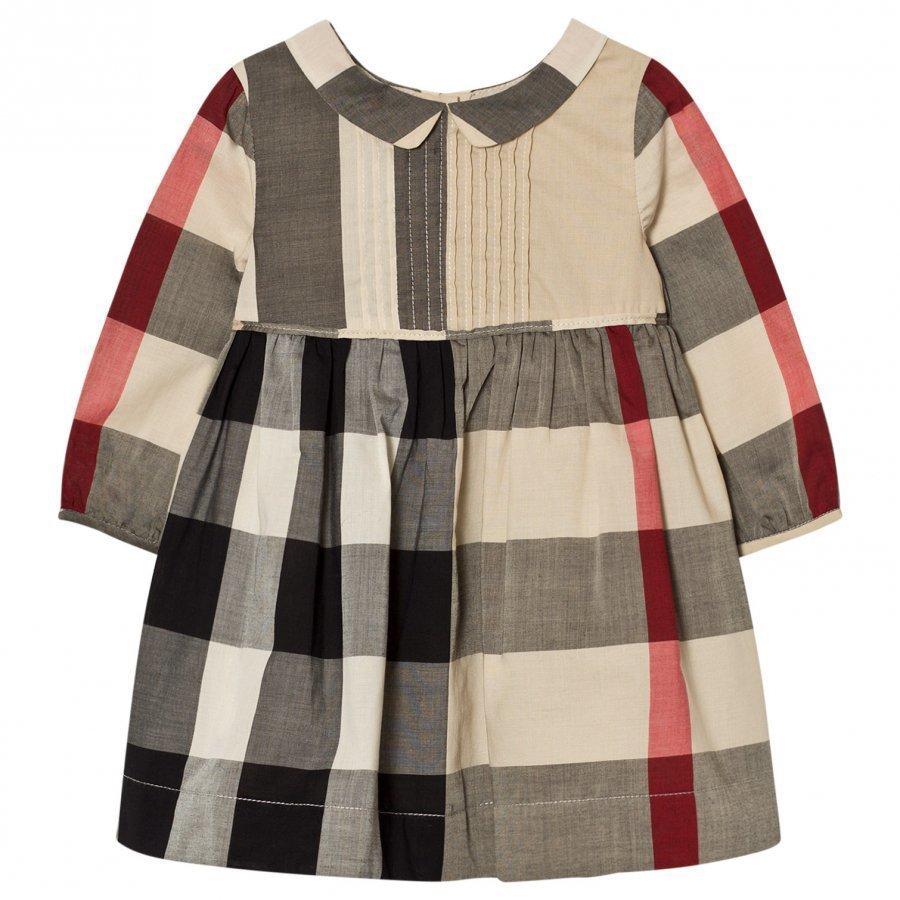 Burberry Long Sleeve Check Pintuck Dress Beige Mekko