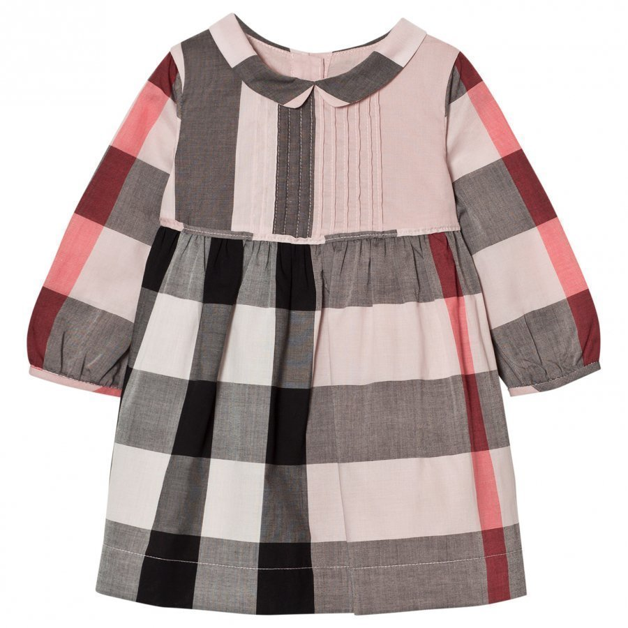 Burberry Long Sleeve Check Pintuck Dress Vintage Pink Mekko