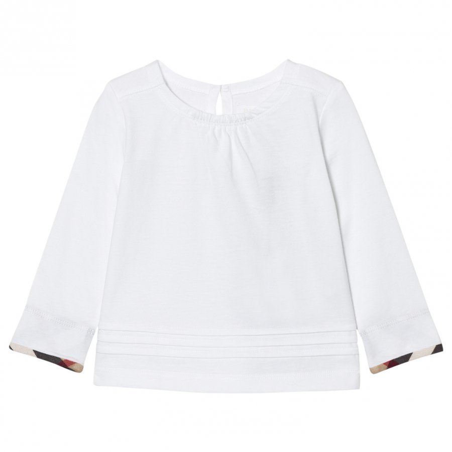 Burberry Long Sleeve Check Pleat Detail Tee White T-Paita