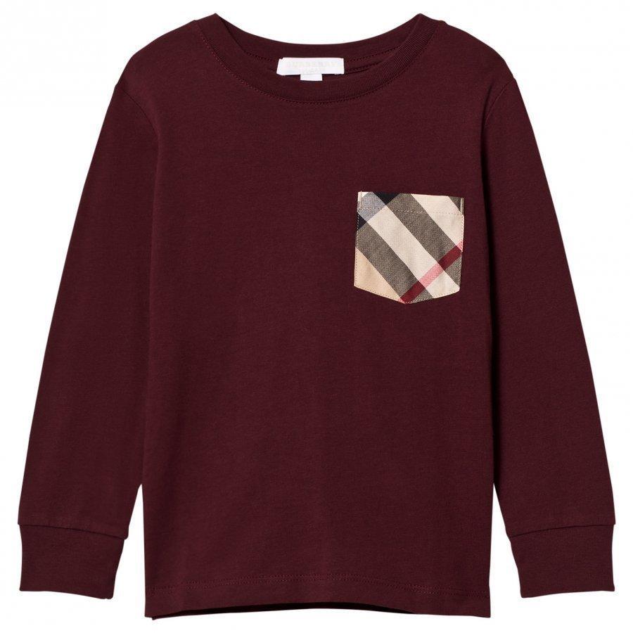 ... Burberry Long Sleeve Check Pocket T-Shirt Oxblood T-Paita 1aaeb5418d