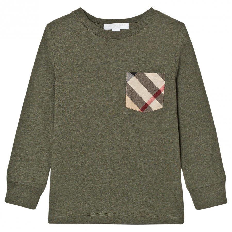 Burberry Long Sleeve Check Pocket Tee Khaki Green T-Paita