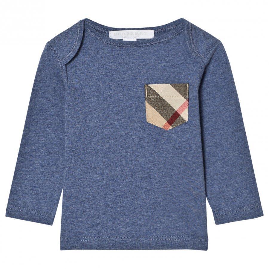 Burberry Long Sleeve Check Pocket Tee Slate Blue T-Paita