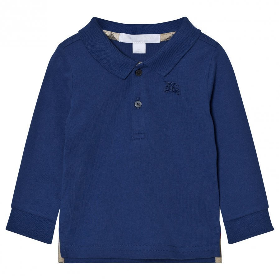 Burberry Long Sleeve Polo Marine Blue Pikeepaita
