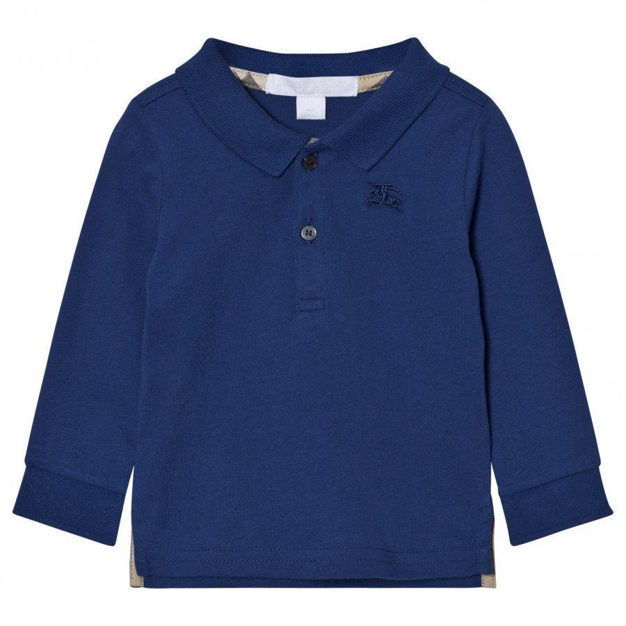 Burberry Long Sleeve Polo Marine Blue Pikeepaita