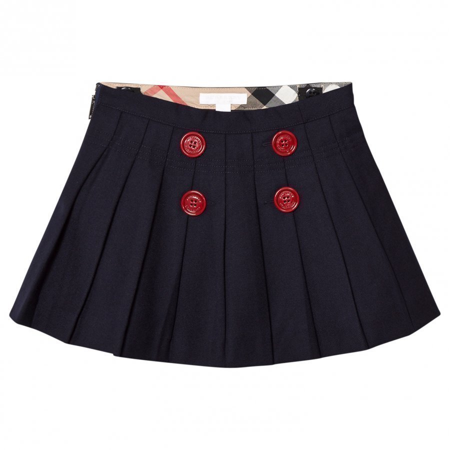 Burberry Navy Florianne Wool Skirt With Contrast Buttons Kellohame