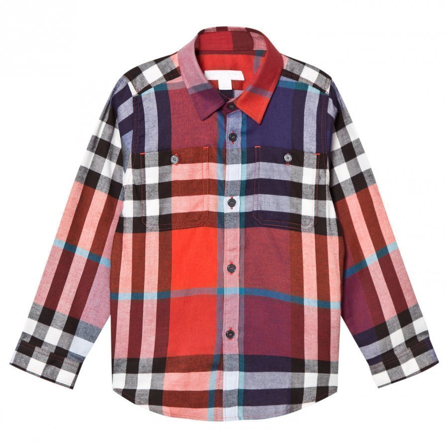 Burberry Orange And Red Mini Fred Check Shirt Kauluspaita