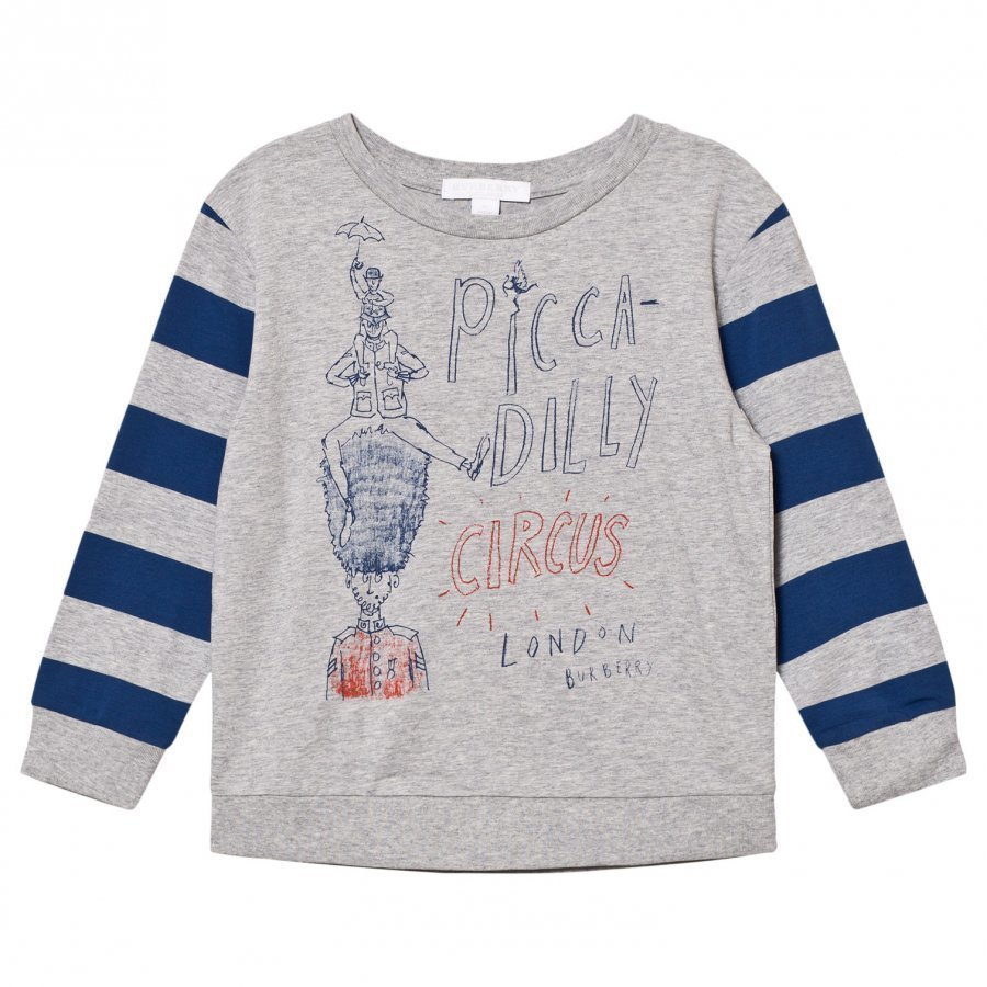 Burberry Piccadily Circus Print Oliver Tee Grey/Bright Navy Blue T-Paita