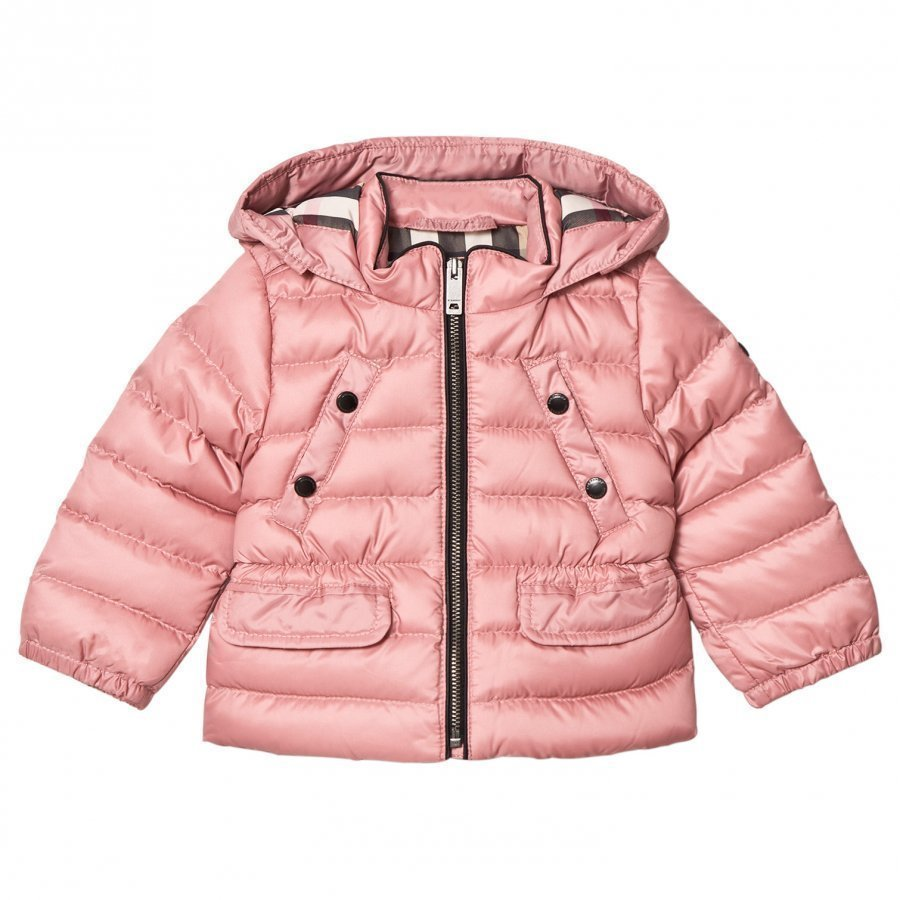 Burberry Pink Mini Bronwyn Padded Down Hooded Coat Toppatakki
