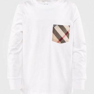Burberry Pitkähihainen T-Paita Nova Check Pocket Vailkoinen Pitkähihainen T-Paita