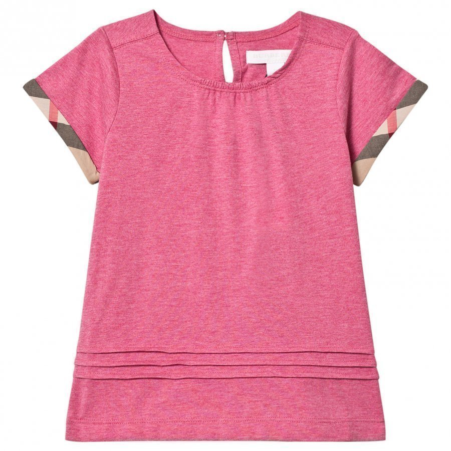Burberry Pleat And Check Detail Pink T-Shirt T-Paita