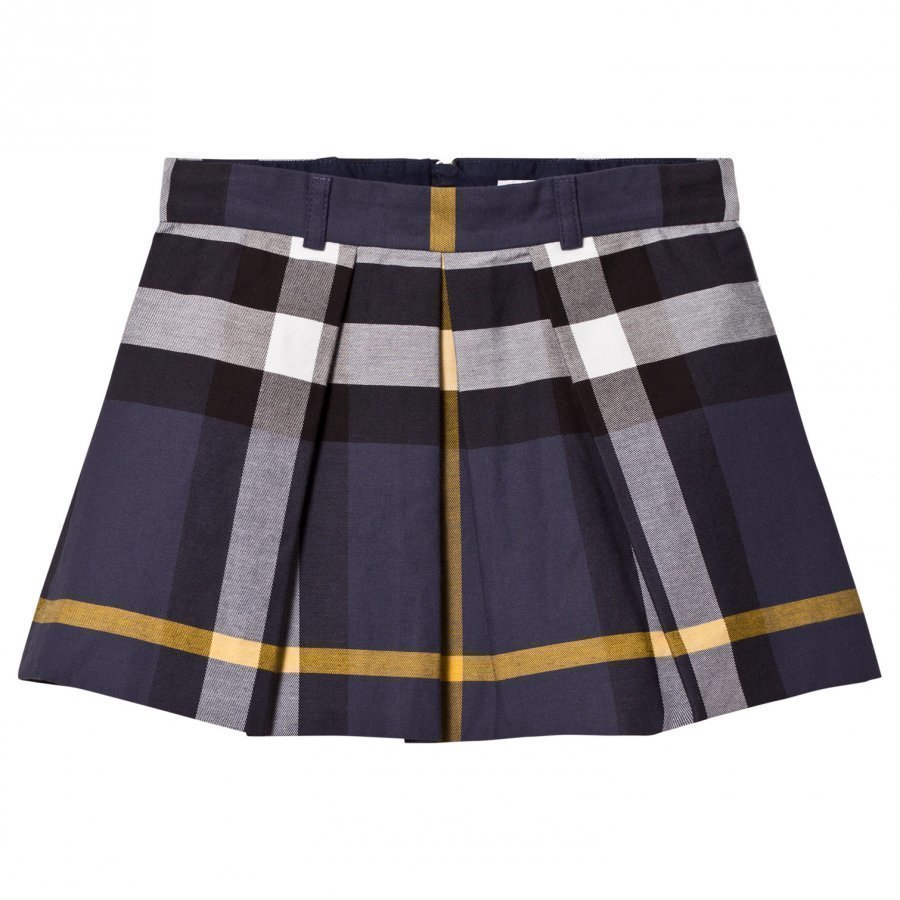 Burberry Pleated Check Cotton Skirt Kellohame