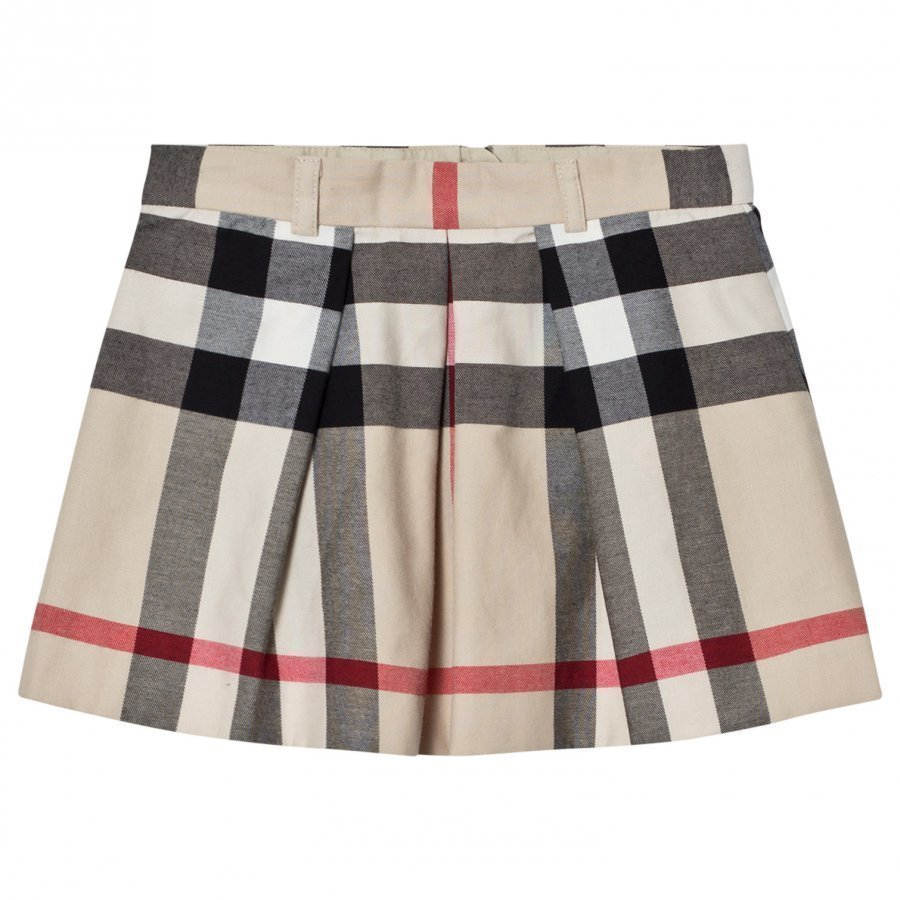 Burberry Pleated Check Kittie Skirt Beige Kellohame