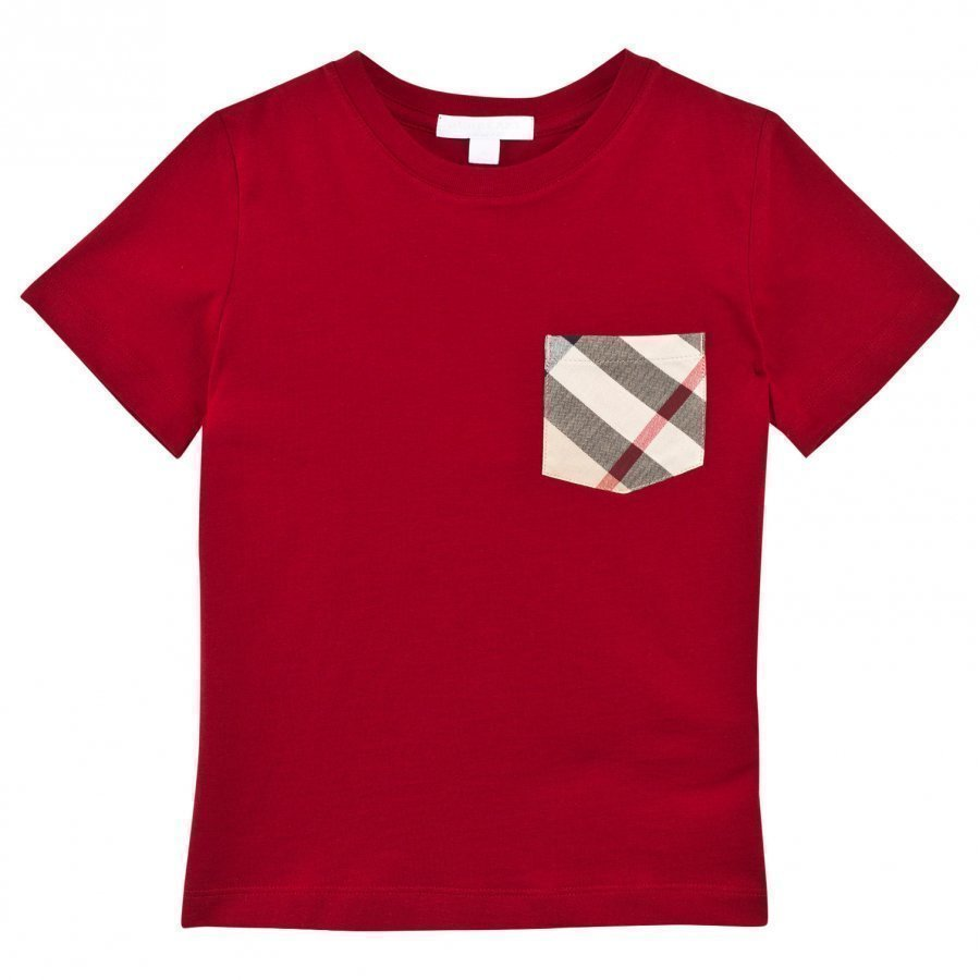 Burberry Red Classic Check Pocket Tee T-Paita