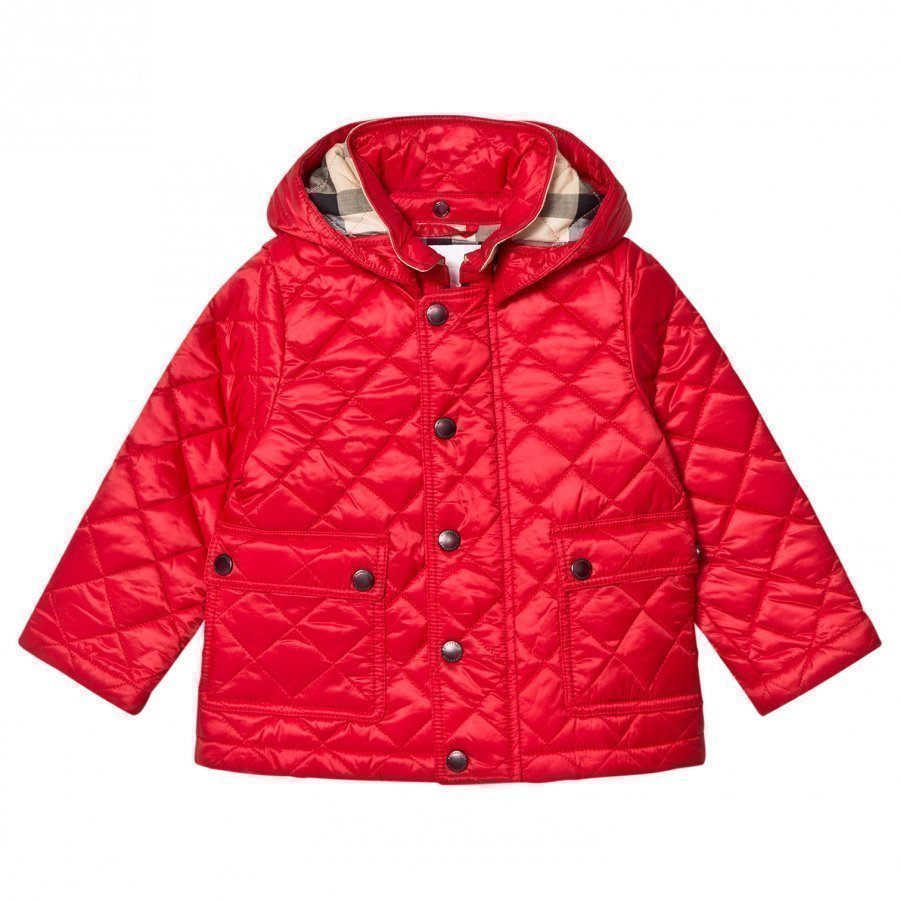 Burberry Red Jamie Quilted Hooded Jacket Tikkitakki