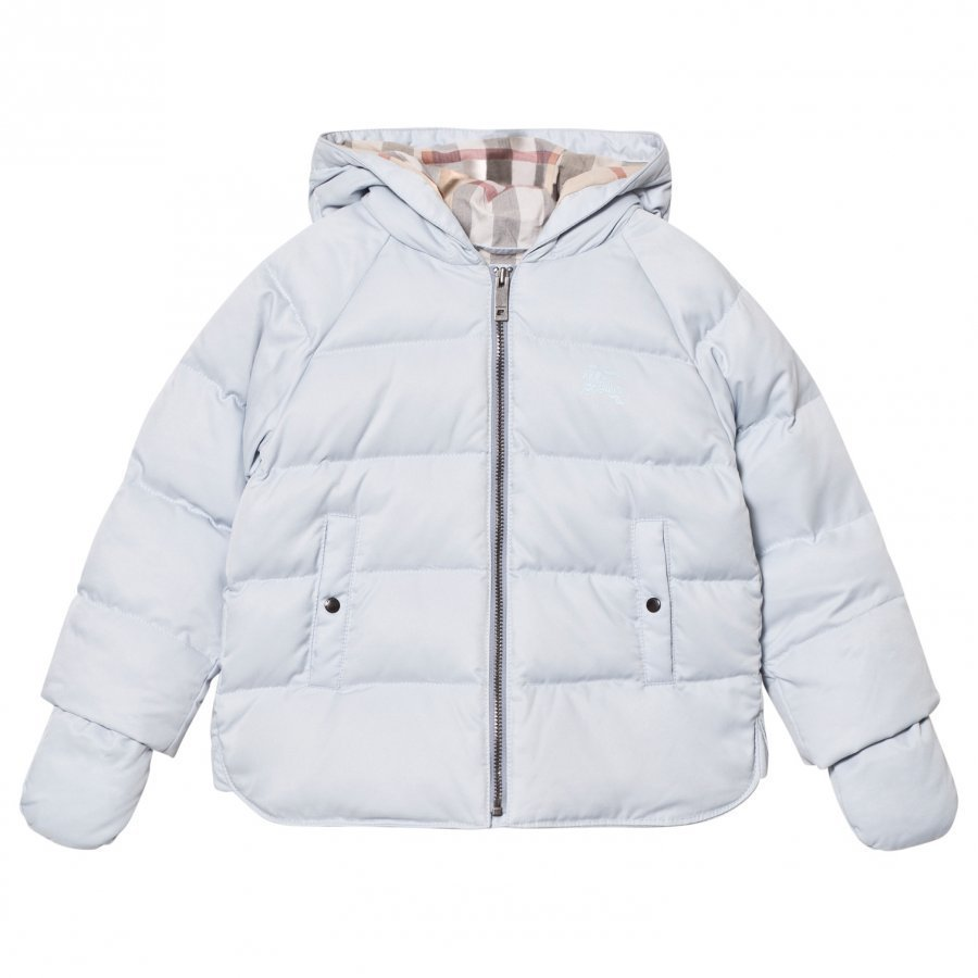 Burberry Rilla Down Hooded Puffer Jacket Ice Blue Toppatakki