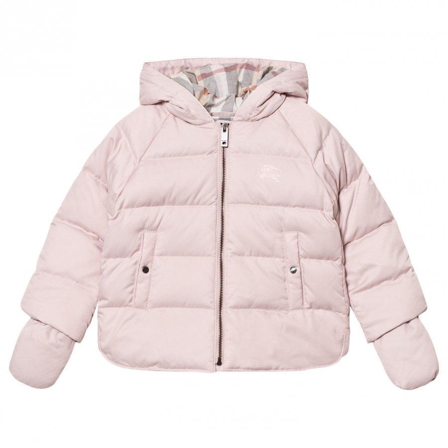 Burberry Rilla Down Hooded Puffer Jacket Powder Pink Toppatakki