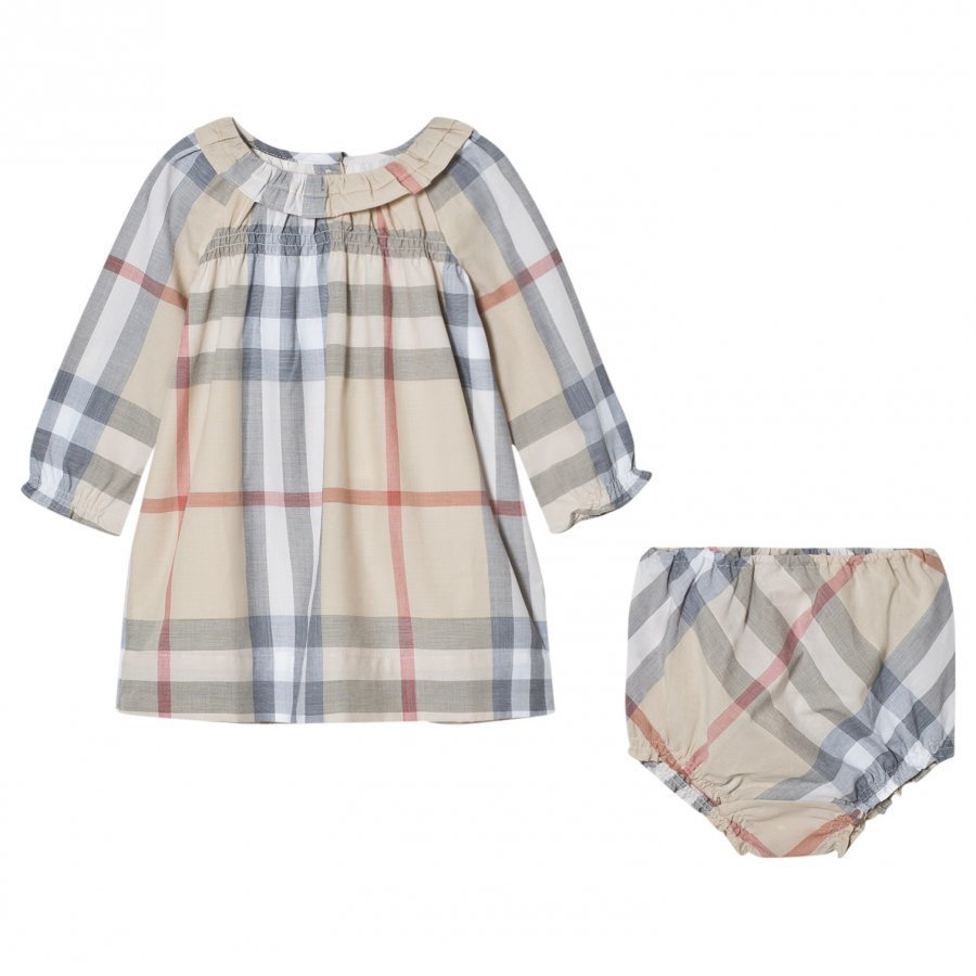 Burberry Ruffle Detail Check Cotton Dress And Bloomers Mekko