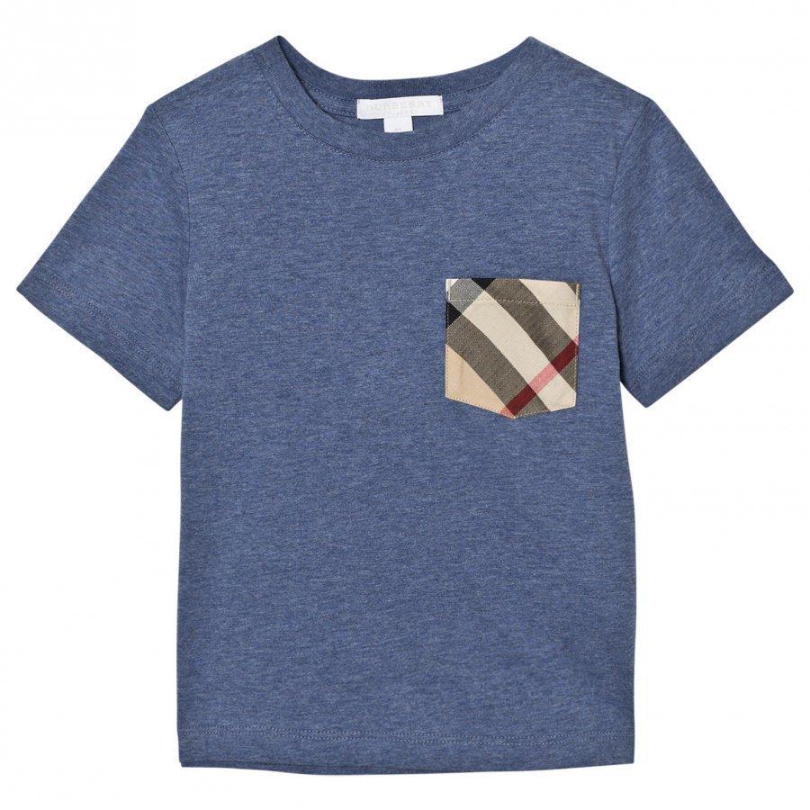 Burberry Slate Blue Check Pocket Tee T-Paita