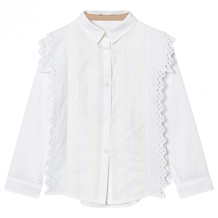 Burberry White Broderie Anglaise Larcy Shirt Pusero