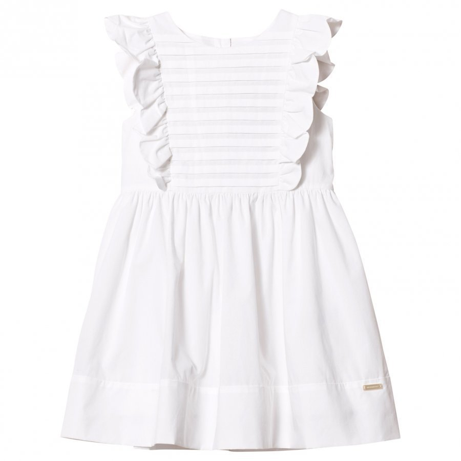 Burberry White Carrie Frill Sleeve Dress Juhlamekko