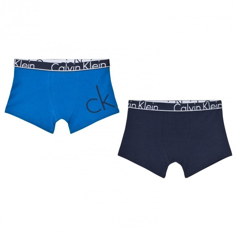 Calvin Klein 2 Pack Of Blue And Navy Branded Trunks Bokserit
