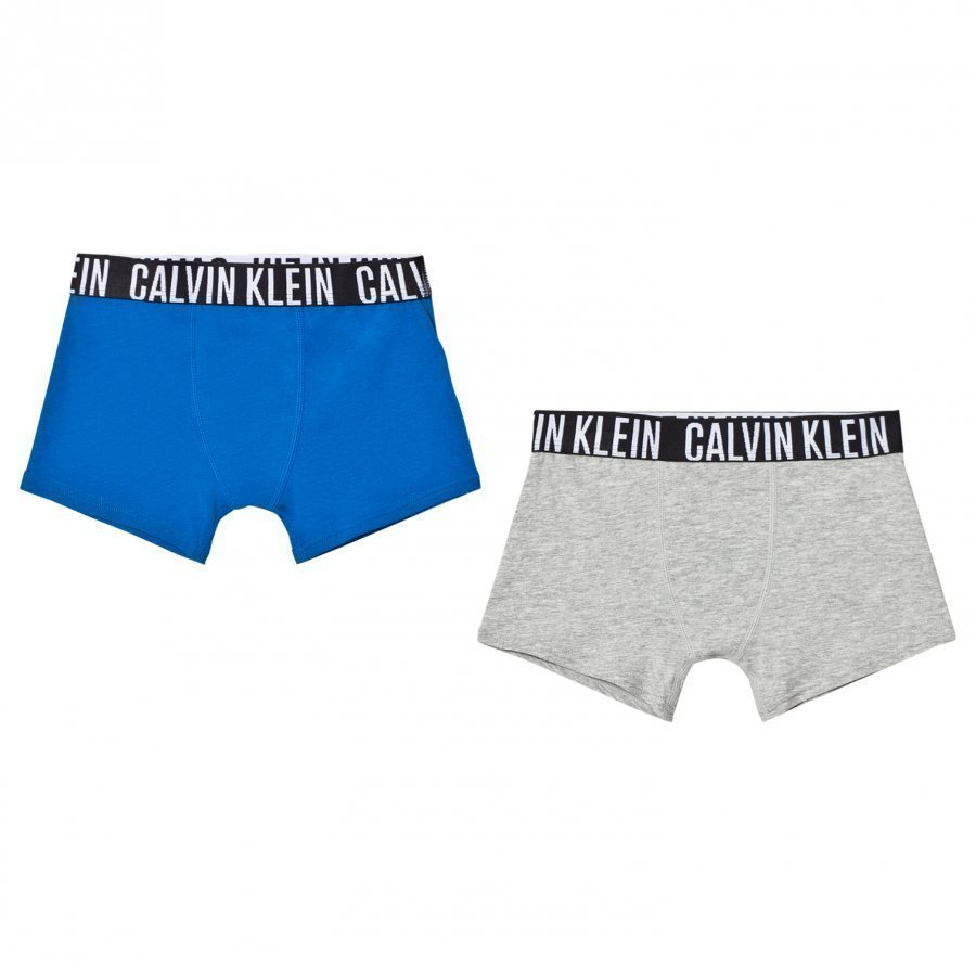 Calvin Klein 2 Pack Of Branded Blue And Grey Trunks Bokserit