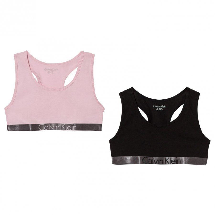 Calvin Klein 2 Pack Of Pink And Black Branded Bralettes Urheiluliivit
