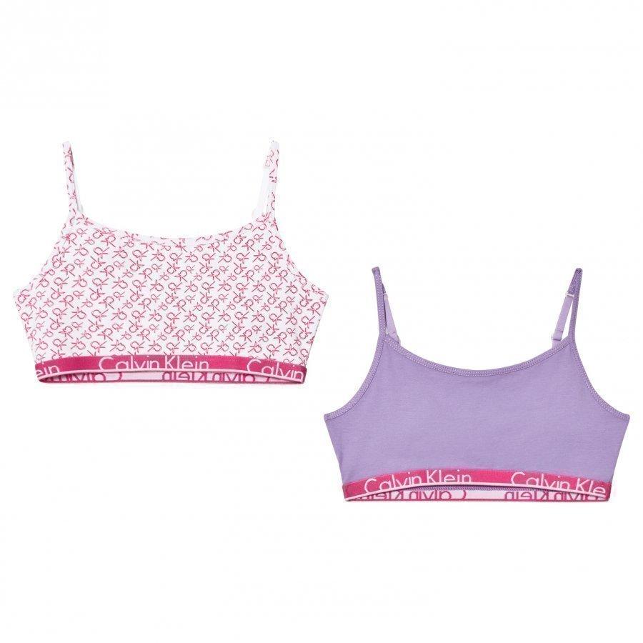 Calvin Klein 2 Pack Of Pink And Lilac Branded String Bralettes Urheiluliivit