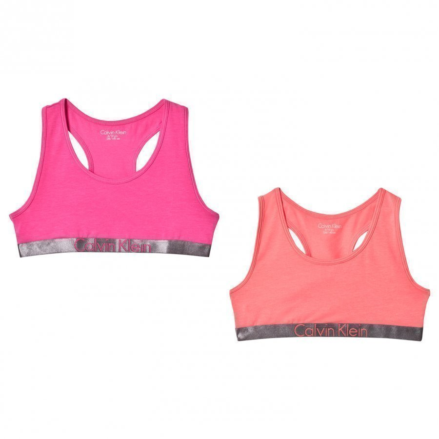 Calvin Klein 2 Pack Of Pink And Orange Branded Bralettes Urheiluliivit