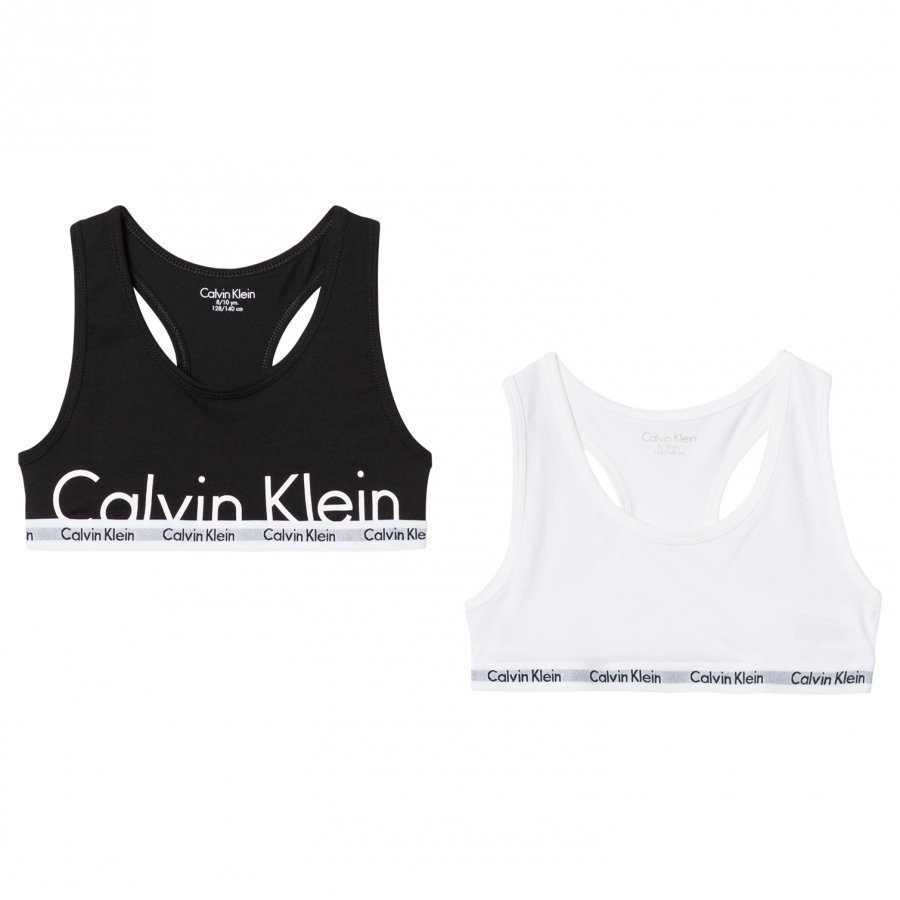Calvin Klein 2 Pack Of White And Black Branded Bralettes Urheiluliivit