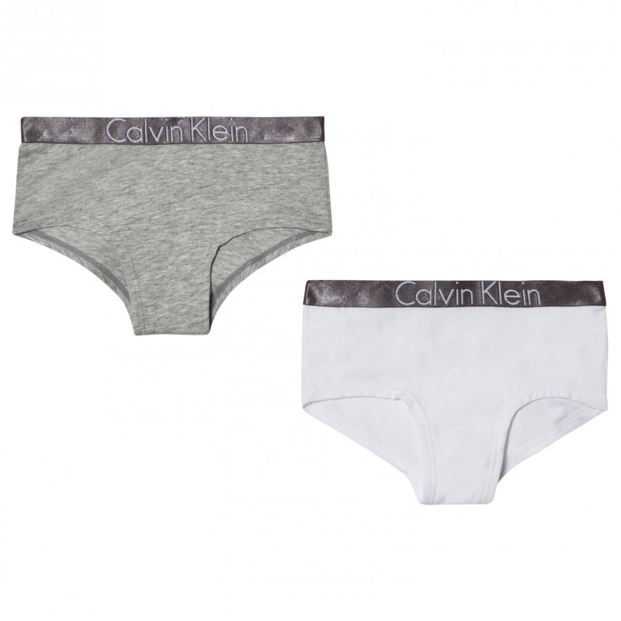 Calvin Klein 2 Pack Of White And Grey Branded Shorties Pikkuhousut