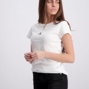Calvin Klein Ck One Ss Rib Top T-Paita Valkoinen