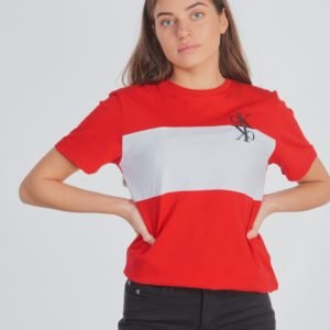 Calvin Klein Colour Block Monogram T Shirt T-Paita Punainen