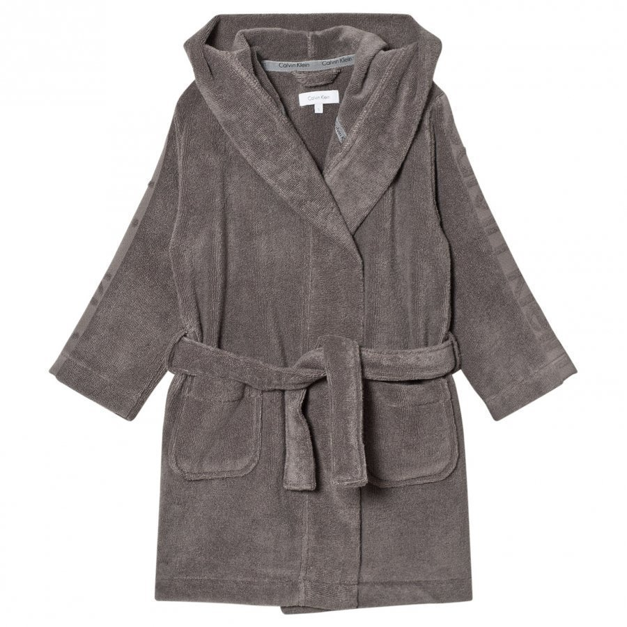 Calvin Klein Grey Branded Micro Cotton Robe Kylpytakki