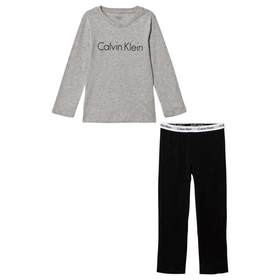 Calvin Klein Grey/Black Modern Cotton Branded Pyjamas Yöpuku