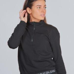 Calvin Klein Logo Waistband Zip Mock Neule Musta
