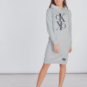 Calvin Klein Midi Monogram Hoodie Dress Mekko Harmaa