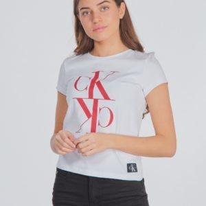 Calvin Klein Monogram Cropped T Shirt T-Paita Valkoinen