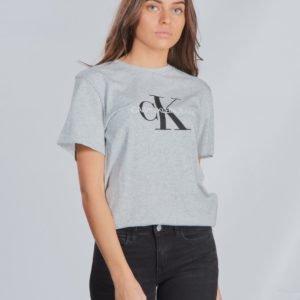 Calvin Klein Monogram Logo T Shirt T-Paita Harmaa