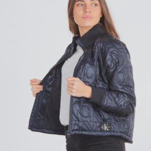 Calvin Klein Monogram Quilted Bomber Jacket Takki Sininen