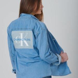 Calvin Klein Monogram Shirt Mid Blue Kauluspaita Sininen