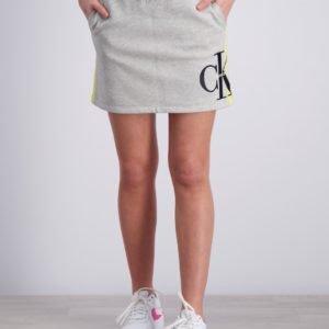Calvin Klein Monogram Stripe Knit Skirt Hame Harmaa