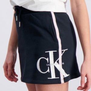 Calvin Klein Monogram Stripe Knit Skirt Hame Musta