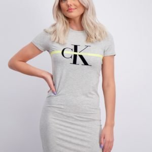 Calvin Klein Monogram Stripe T Shirt Dress Mekko Harmaa