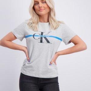Calvin Klein Monogram Stripe T Shirt T-Paita Harmaa