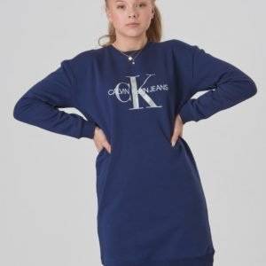 Calvin Klein Monogram Sweatshirt Dress Mekko Sininen