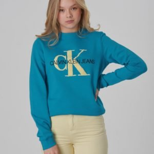 Calvin Klein Monogram Terry Sweatshirt Girl Neule Sininen